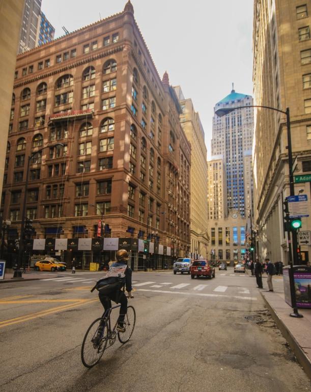 Biker on Lasalle in Chicago, Illinois