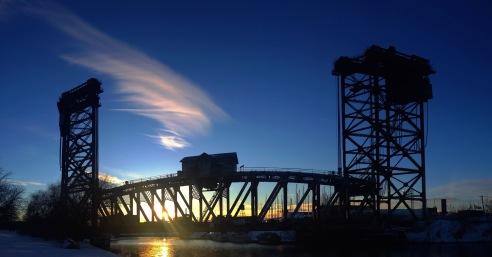 Canal Street Lift Bridge at Sunset Chicago, Illinois