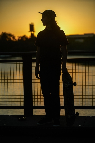Skateboarder at Sunset in Chicago, Illinois