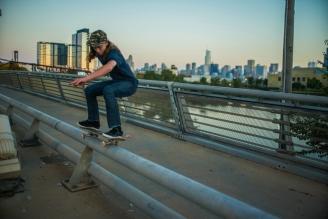 50-50 grind on North Avenue Bridge in Chicago , Illinois